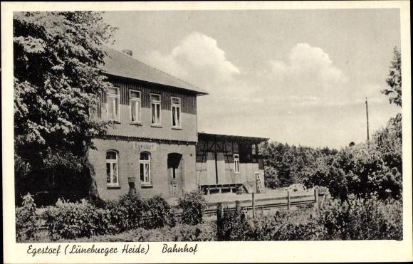 Ak Egestorf Lüneburger Heide, Die Gleisseite vom Bahnhof