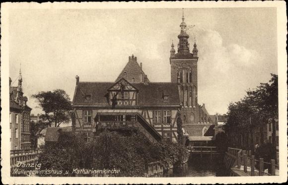 Ak Gdańsk Danzig, Müllergewerkshaus, Katharinenkirche