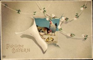 Präge Passepartout Ak Glückwunsch Ostern, Hühner, Küken