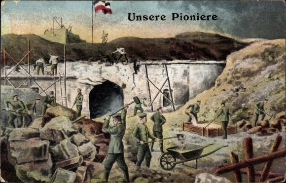Künstler Ak Deutsche Pioniere beim Bau, Festung, Eingangstor
