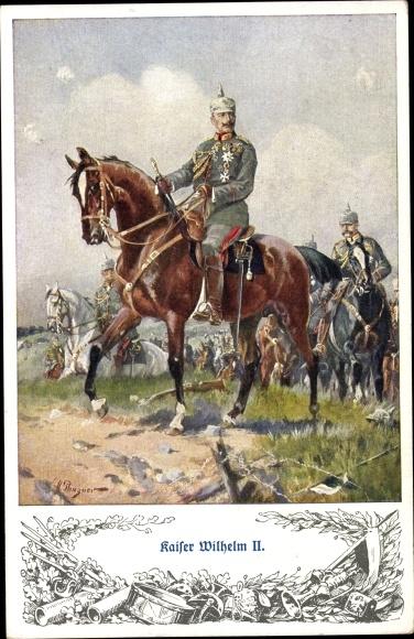 Künstler Ak Kaiser Wilhelm II., Pferd, Hindenburg