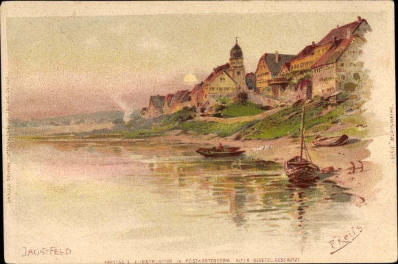 Künstler Litho Reiss, Fritz, Jagstfeld Bad Friedrichshall in Baden Württemberg, Uferpartie am Fluss