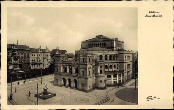 Ak Szczecin Stettin Pommern, Stadttheater, Außenansicht