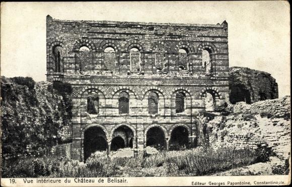 Ak Konstantinopel Istanbul Türkei, Vue intérieure du Château de Belisair