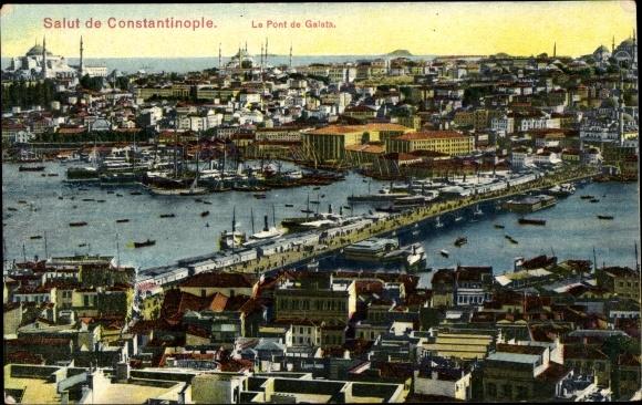 Ak Konstantinopel Istanbul Türkei, Le Pont de Galata, Galatabrücke