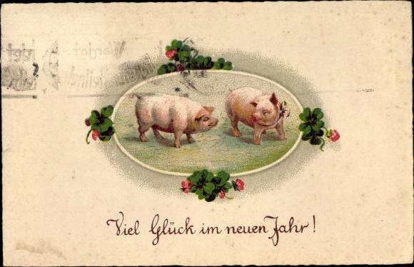 Ak Glückwunsch Neujahr, Zwei Glücksschweine, Kleeblätter