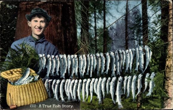 Ak USA, A True Fish Story, Fischer mit gefangenen Fischen