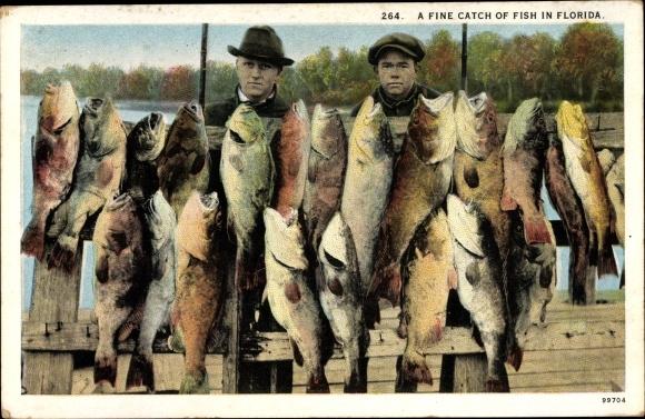 Ak Florida USA, A fine Catch of Fish, Fischer mit Fang