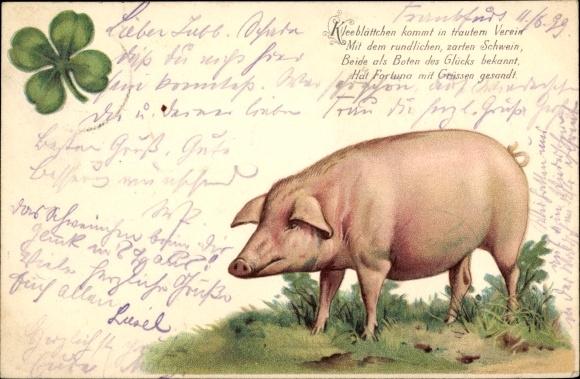 Litho Glücksschwein, Kleeblatt, Kleeblättchen kommt in trautem Verein