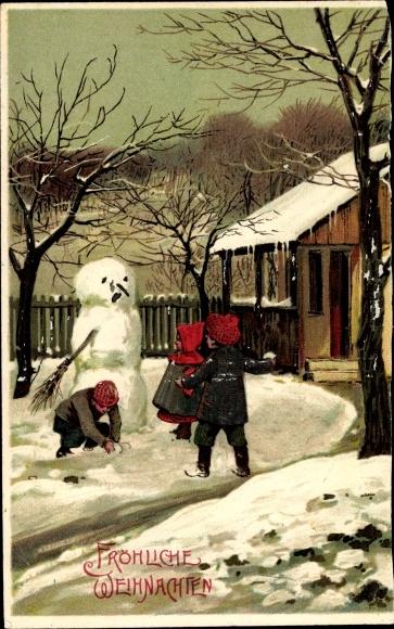 Präge Ak Frohe Weihnachten, Schneemann, Kinder