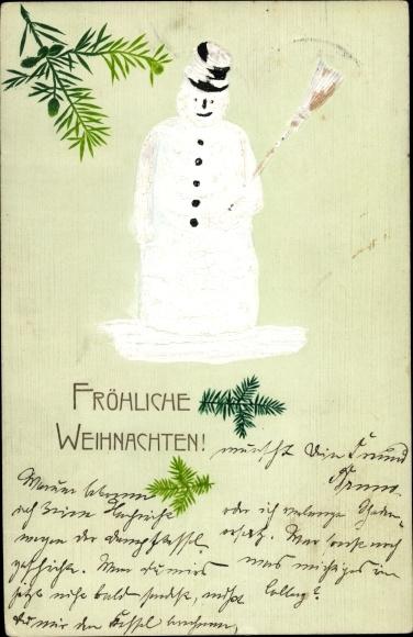 Präge Ak Frohe Weihnachten, Schneemann, Tannenzweige