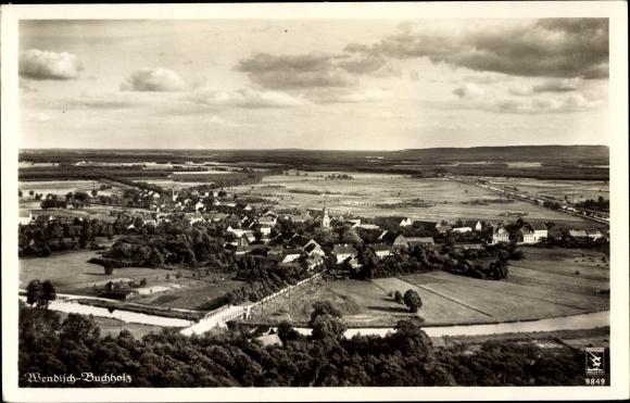 Ak Märkisch Buchholz in Brandenburg, Klinke Fliegeraufnahme 9849