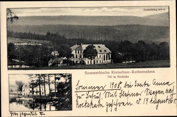 Ak Kretscham Rotensehma Sehmatal Erzgebirge, Sommerfrische, Panorama m. fichtelberg, Anlegestelle