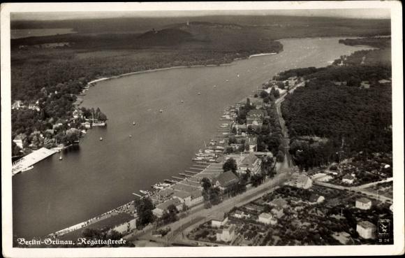 Ak Berlin Köpenick Grünau, Fliegeraufnahme der Regattastrecke, Klinke & Co. B 24, Olympia 1936