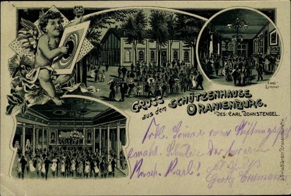 Mondschein Litho Oranienburg in Brandenburg, Schützenhaus, Bes. Carl. Bohnstengel