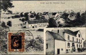 Ak St Nikolaus Großrosseln im Saarland, Gasthof zur Post, Inh. Paul Bayard, Totalansicht