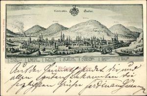 Künstler Ak Merian, Goslar in Niedersachsen, Panorama vom Ort, Wappen