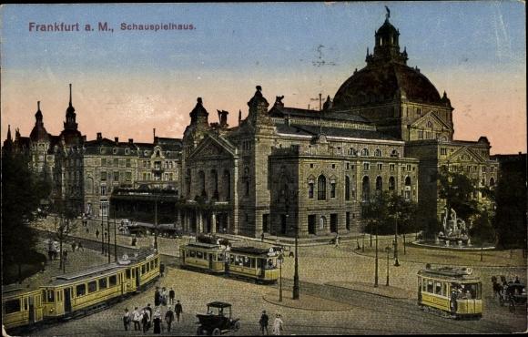Ak Frankfurt am Main, Verkehr beim Schauspielhaus