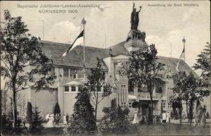 Ak Nürnberg in Mittelfranken Bayern, Bayer. Jubiläums-Landes-Ausstellung, Gebäude der Stadt Nürnberg
