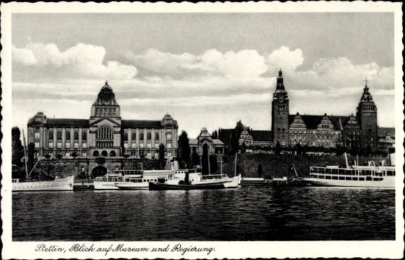 Ak Szczecin Stettin Pommern, Blick auf Museum und Regierung