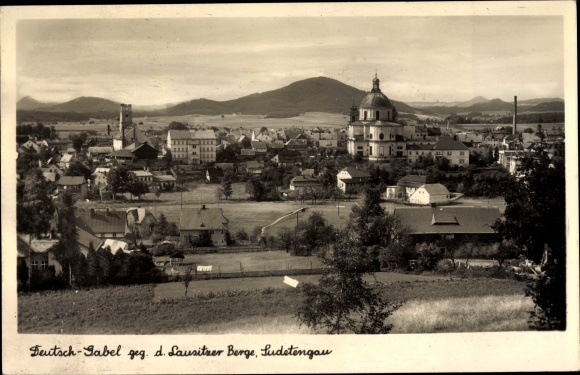 Ak Jablonné v Podještědí Deutsch Gabel Reg. Reichenberg, Lausitzer Berge, Totalansicht