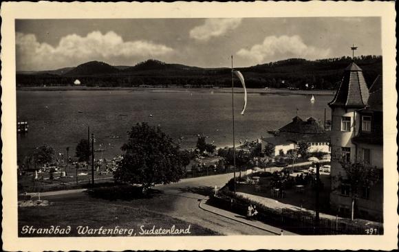 Ak Stráz pod Ralskem Wartenberg am Roll Reg. Reichenberg, Strandbad