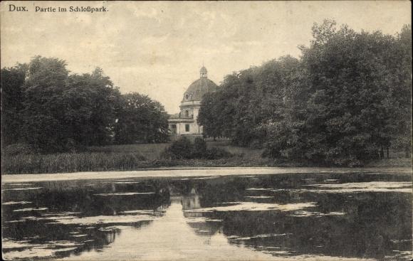 Ak Duchcov Dux Region Aussig, Schlosspark, Teich