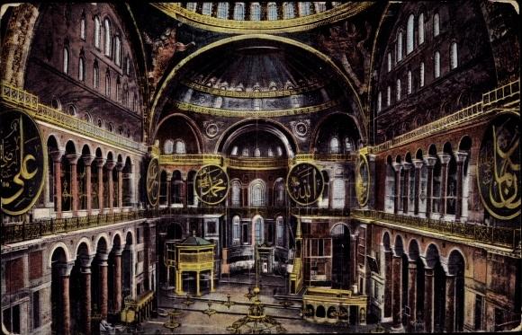 Ak Konstantinopel Istanbul Türkei, Hagia Sophia, Innenansicht, Namensschilder