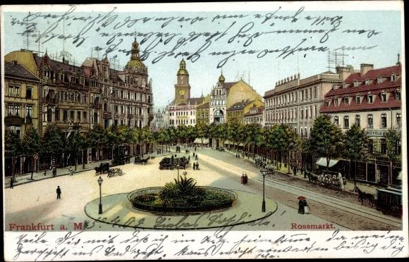 Ak Frankfurt am Main, Rossmarkt, Hotel, Häuser, Pferdekutschen, Passanten