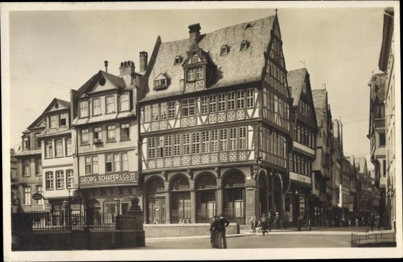 Ak Frankfurt am Main, Haus zur Gold. Waage, Georg Schäfer & Co. GmbH Flachglasgroßhandlung, Läden