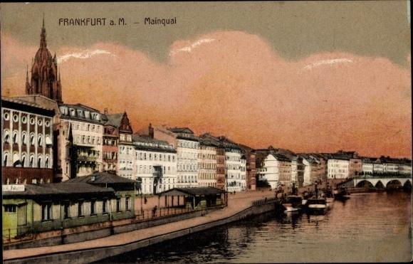 Ak Frankfurt am Main, Mainkai, Dampfer an Anlegestelle, Fährhaus, Häuser, Kaiserdom, Brücke