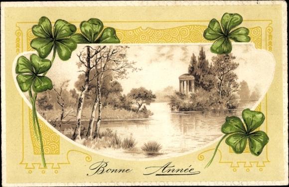 Präge Passepartout Litho Bonne Année, Glückwunsch Neujahr, Kleeblätter, Teichpartie, Tempel