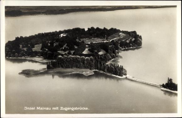 Ak Insel Mainau im Bodensee, Fliegeraufnahme der Insel mit Zugangsbrücke