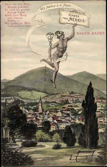 Künstler Ak Baden Baden am Schwarzwald, Merkur über dem Ort, Blick zum Berg