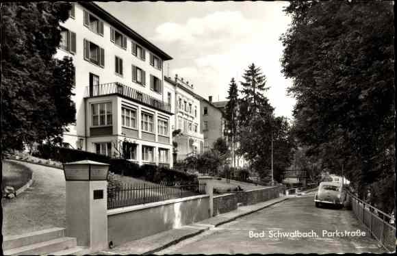 Ak Bad Schwalbach im Taunus Hessen, Parkstraße, Haus am Park, parkendes Auto