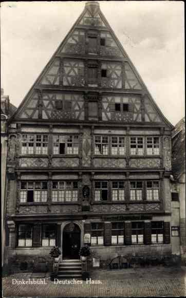 Ak Dinkelsbühl in Mittelfranken, Deutsches Haus, Vorderansicht