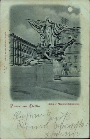 Mondschein Ak Szczecin Stettin Pommern, Stettiner Monumentalbrunnen, Plastik