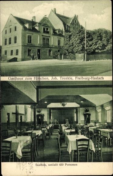 Ak Haslach Freiburg im Breisgau, Gasthaus zum Hirschen, Inh. Joh. Trenkle, Saalbau