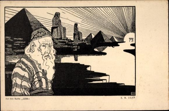 Künstler Ak Lilien, E.M., Aus dem Buche Juda, Jude, Ägypten, Pyramide