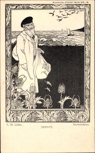 Jugendstil Ak Lilien, E.M., Herbstblätter, Jude