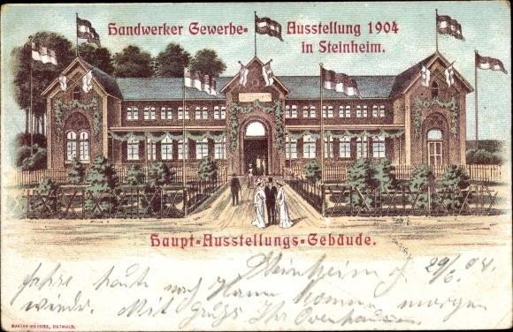 Künstler Ak Steinheim im Weserbergland, Handwerke Gewerbeausstellung 1904, Hauptausstellungsgebäude