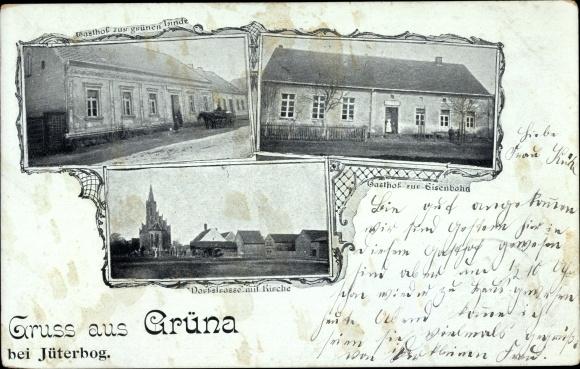 Ak Grüna Sachsen, Gasthof zur grünen Linde, Gasthof zur Eisenbahn, Dorfstraße, Kirche