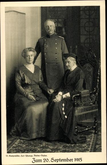 Ak Großherzog Friedrich II. von Baden, Luise von Preußen, Hilda von Nassau, Opfertag 20. Sept 1915
