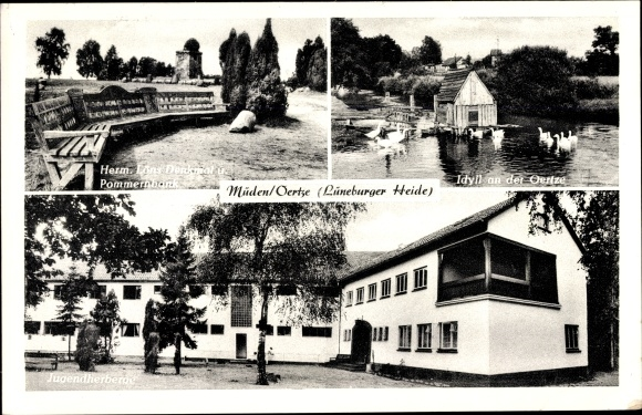 Ak Müden Oertze Faßberg in Niedersachsen, Herm. Löns Denkmal, Pommernbank, Jugendherberge