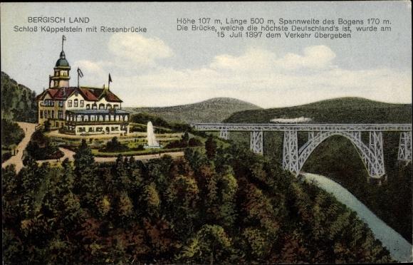 Ak Reinshagen Remscheid im Bergischen Land, Schloss Küppelstein m. Riesenbrücke, Eisenbahn