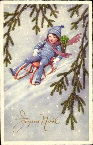 Litho Frohe Weihnachten, Joyeux Noel, Junge auf Schlitten, Kleeblätter