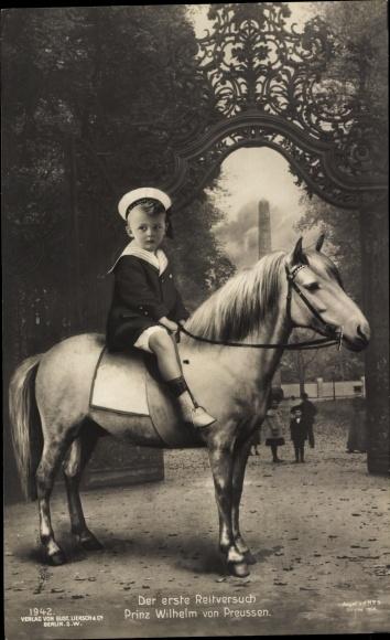 Ak Der erste Reitversuch Prinz Wilhelm von Preußen, Liersch 1942