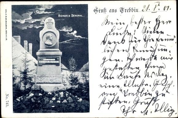 Mondschein Ak Trebbin in Brandenburg, Bismarckdenkmal, Gesamtansicht
