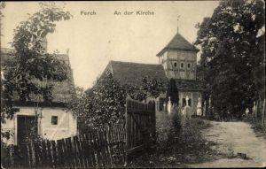 Ak Ferch Schwielowsee, Kirche, Friedhof, Gartenpartie