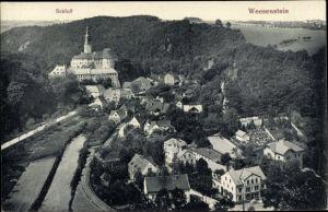 Ak Weesenstein Müglitztal Sachsen, Schloss, Panorama vom Ort